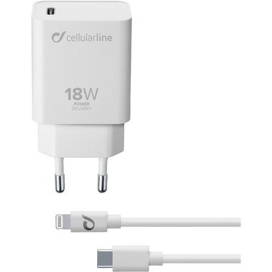 Cellularline USB-C Charger KIT PD 18W - IPHONE 8 O SUCCESSIVI