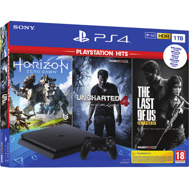 Sony PS4 1TB + Horizon Zero Dawn + The Last of Us + Uncharted 4 Nero 1000 GB Wi-Fi
