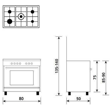 Glem A855GX Libera installazione 95L A Bianco cucina