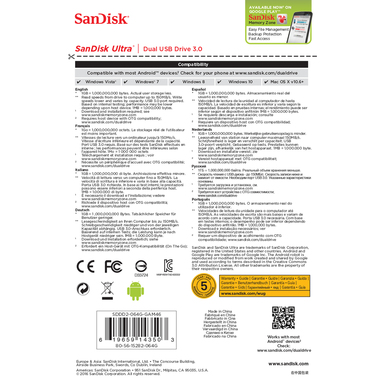 Sandisk Ultra Dual USB Drive 3.0 64GB 3.0 (3.1 Gen 1) Nero unità flash USB