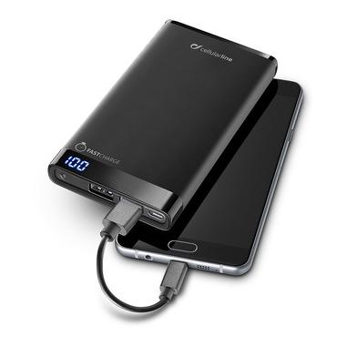 Cellularline Freepower Manta 8000 - Universale Caricabatterie portatile sottile, veloce, potente Nero