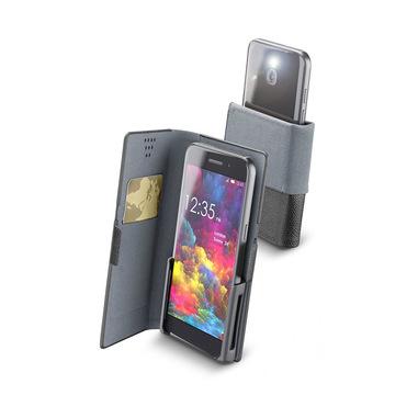 """Cellularline Slide & Click - Smartphones fino a 4.8"""" Custodia a libro multicompatibile effetto pelle Nero"""