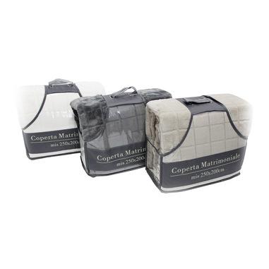 TESS White & White Coperta Flannel Matrimoniale 250x200 Bianca