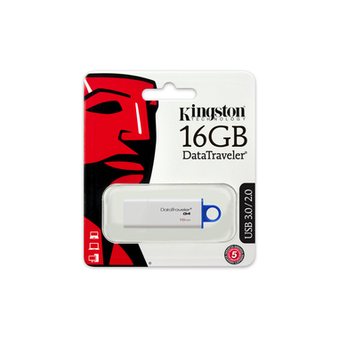 Kingston Technology DataTraveler G4 16GB USB 3.0 (3.1 Gen 1) Tipo-A Blu, Bianco unità flash USB