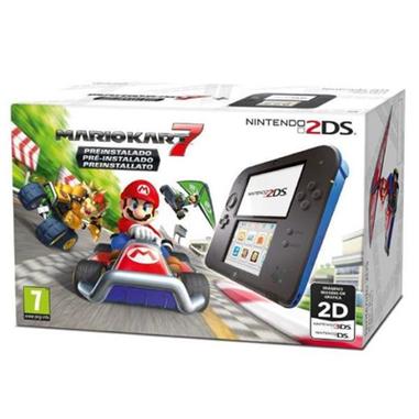 Nintendo 2DS + Mario Kart 7 console da gioco portatile Nero, Blu 8,97 cm (3.53