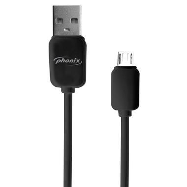 Phonix Cavo USB Data / Charge per Modelli con Connettore Micro-USB, 100cm Lunghezza - Nero