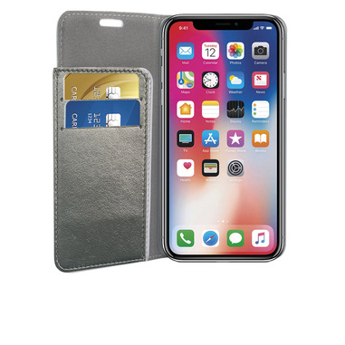 Phonix Custodia a Libro in Ecopelle Sparkling per Apple iPhone X - Grigio Metallico