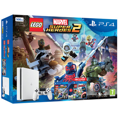 Sony PS4 500GB Slim + Lego Marvel Super Heroes 2 + Lego Avengers 500GB Wi-Fi Bianca