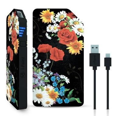 I-Paint Black Flower power bank