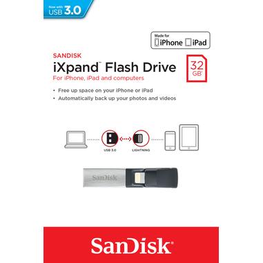 Sandisk iXpand 32GB 32GB USB 3.0 (3.1 Gen 1) Numero di grucce Nero, Argento unità flash USB
