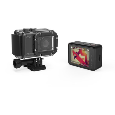 ACTIVEON pack con action cam CX + selfiestick + kit di montaggio + Fastcut