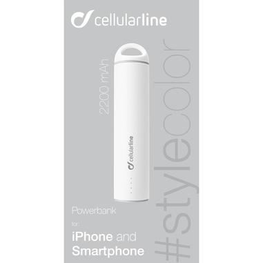 Cellularline Powerbank #Stylecolor 2200 - Universale Caricabatterie portatile super colorato Bianco