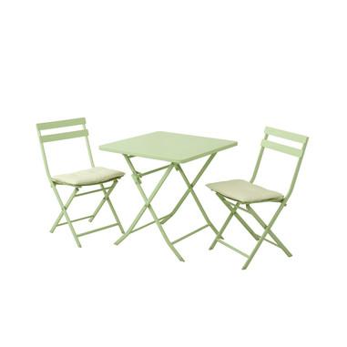 Munus International Tavolino con 2 sedie e due cuscini Tiziano verde