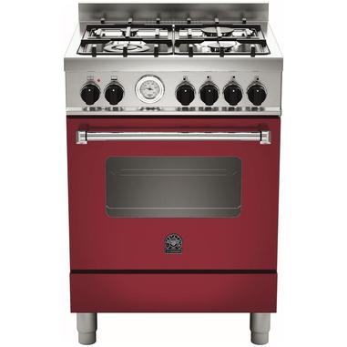Bertazzoni La Germania Americana AMN604GEVSVIT Piano cottura Gas A+ Rosso, Acciaio inossidabile cucina