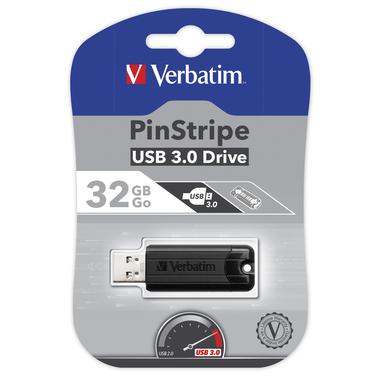 Verbatim PinStripe 32GB USB 3.0 (3.1 Gen 1) Numero di grucce Nero unità flash USB